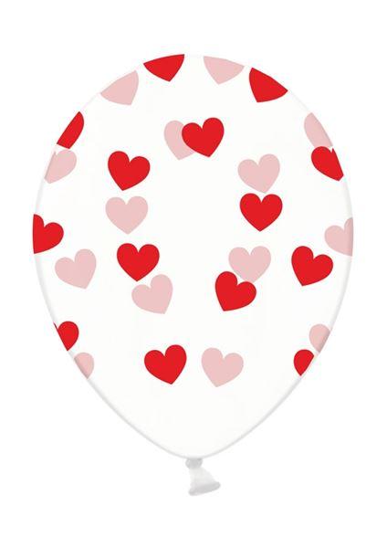 Latexballon Transparent rote Herzen 30cm