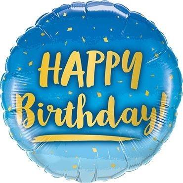 "Folienballon Happy Birhtday ""Blue-Love"" 46cm"