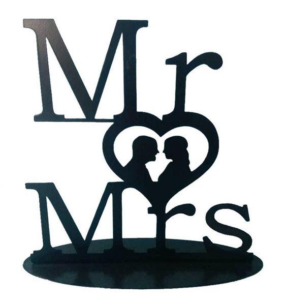 Metall Aufsteller Mr. & Mrs. Schwarz