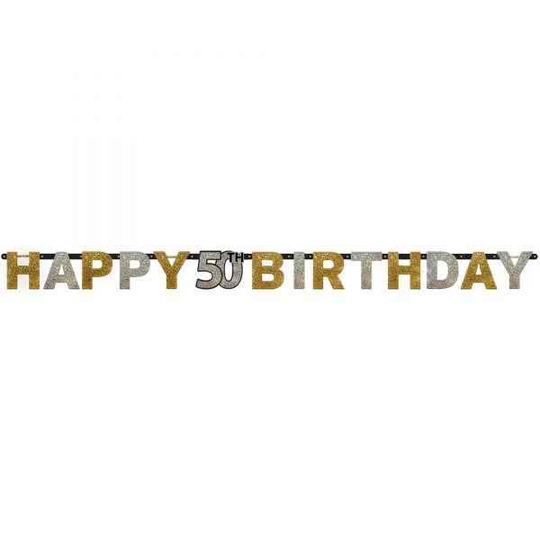 Sparkling Celebration Silber & Gold - Happy Birthday 50 Holo Girlande