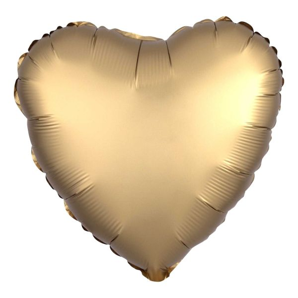 Folienballon Herz Satin Gold 45cm