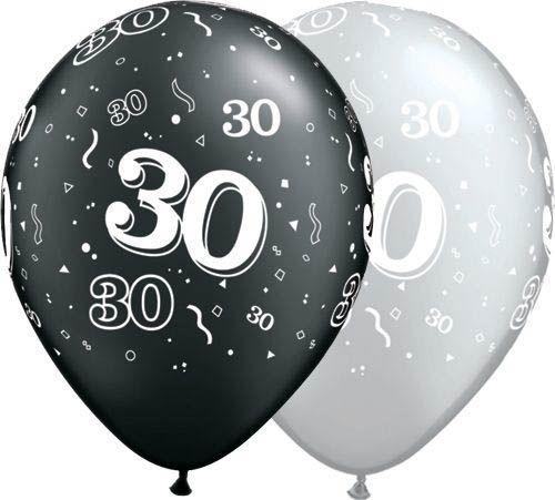 Qualatex Latexballon 30. Geburtstag Pearl Assorted Onyx Black & Silver Ø 30cm