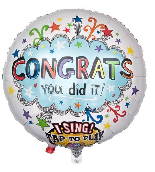 Singender Ballon zum Schul-/Uni-Abschluss Congrats You Did It 71cm
