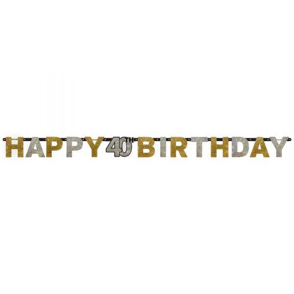 Sparkling Celebration Silber & Gold - Happy Birthday 40 Holo Girlande