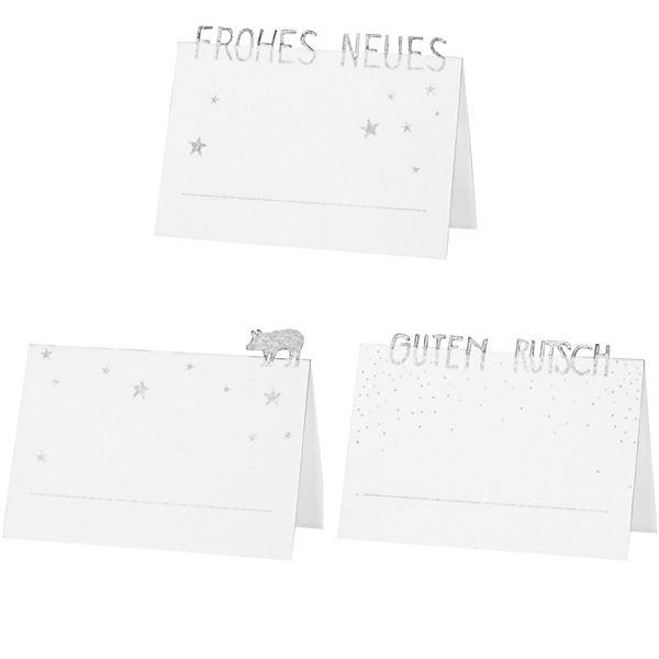 Frohes Neues - 6 Platzkarten Weiß & Silber