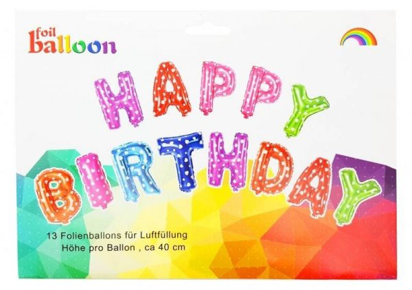 Folienballon-Girlande Happy Birthday Bunt