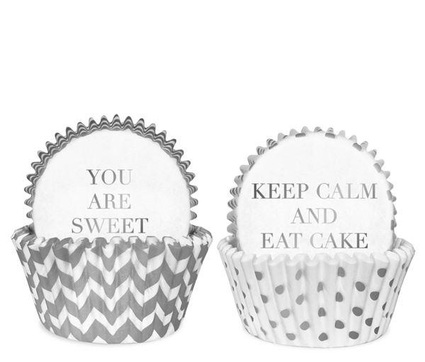 Weiß Silber - 50 Cupcake Förmchen