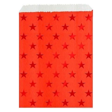 24 Rote Adventskalender Taschen mit roten Sternen