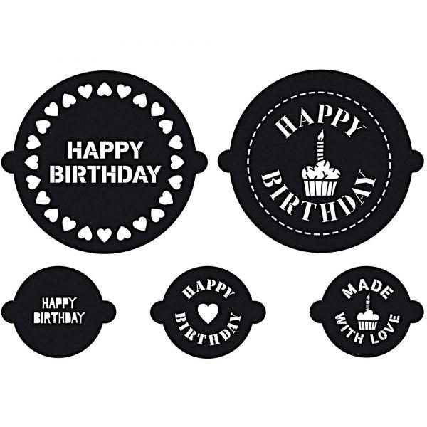 Kuchen- und Cupkake Schablonen - Happy Birthday