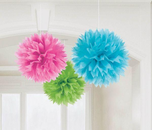 Multi Color - 3 Fluffy Pom Poms