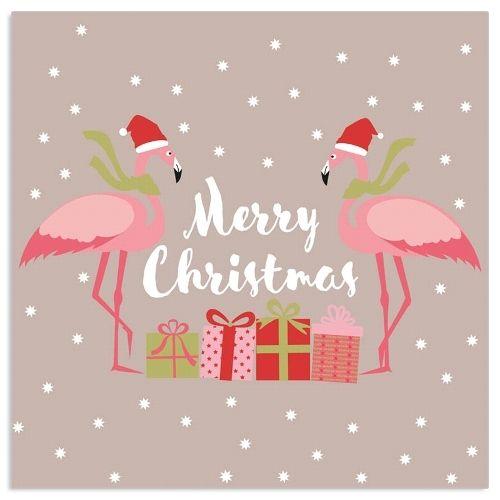 20 Weihnachtsservietten mit Flamingo Grau