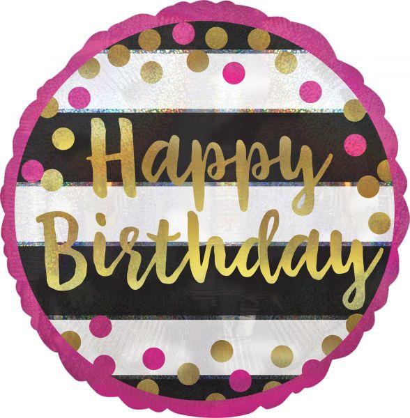 Folienballon Geburtstag Holographic Pink & Gold 45cm