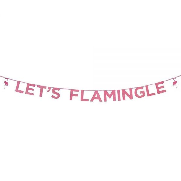 Say It With Glitter - Let's Flamingle Pink-Glitzer-Girlande