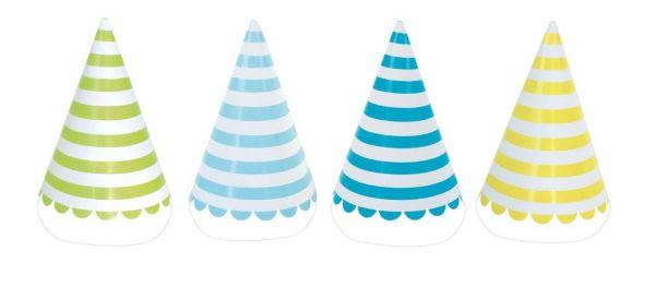 Blau - 8 gestreifte Hütchen