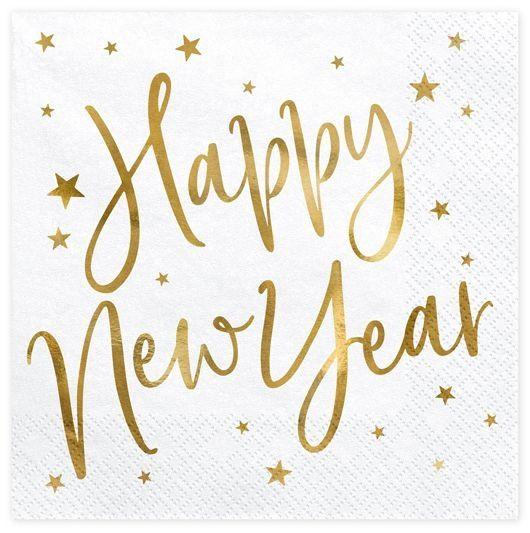 """20 Servietten - Happy new Year"""" goldene Schrift"""