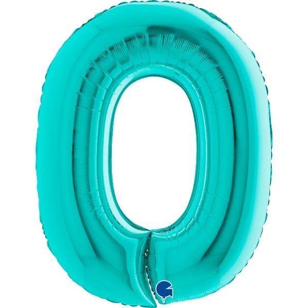 Folienballon Zahl 0 Tiffany 100cm