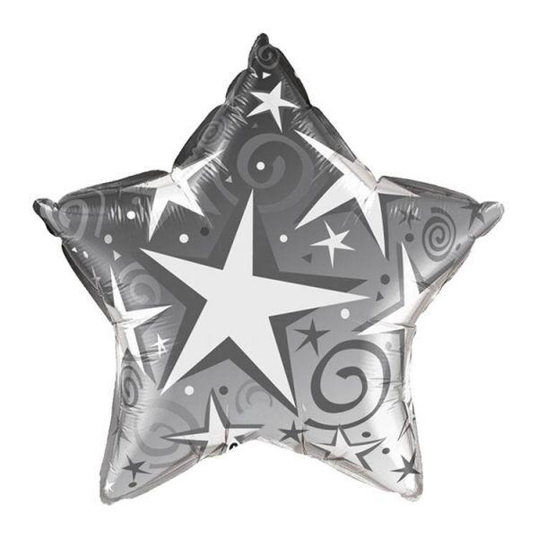 Folienballon Stern mit Sternen Silber 56 cm