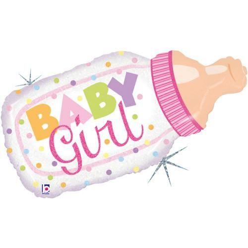 Folienballon Holographic Babyflasche Mädchen 83 cm