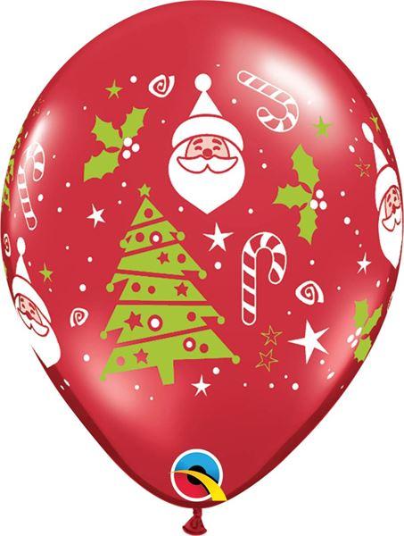 Qualatex Ballon Weihnachtsmann & Tanne 30 cm
