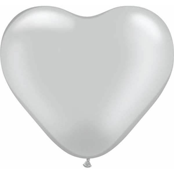 Qualatex Herzballon Silber 15cm