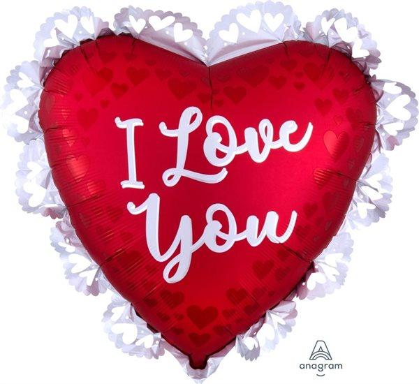 """Folienballon Herz mit Spitzenrand """"I Love you"""" 60cm"""