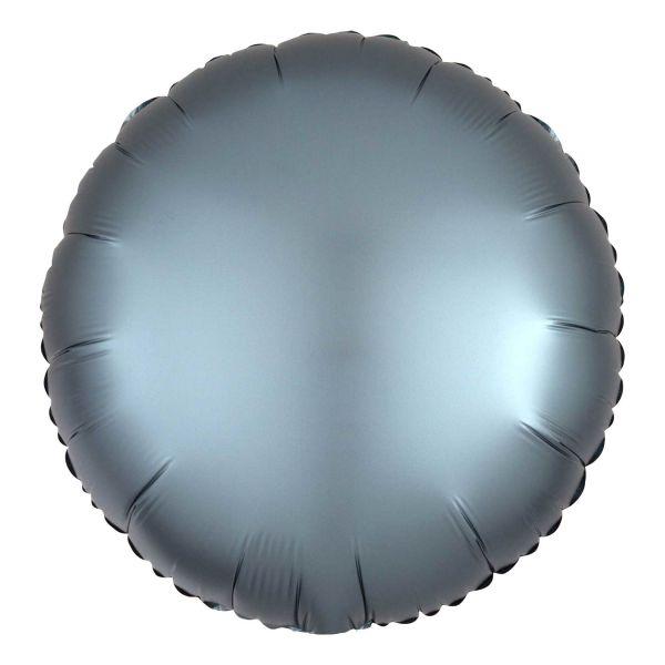 Folienballon Rund Satin Stahl Blau 45cm