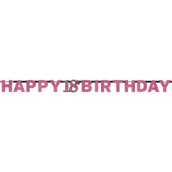 Sparkling Celebration Pink - Happy Birthday 18 Holo Girlande