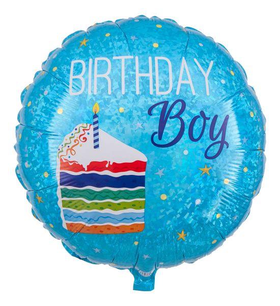 Folienballon Geburtstagstorte Birthday Boy Holographic 45cm