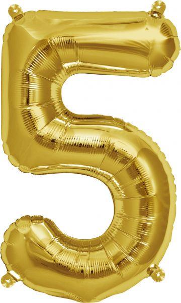 Luftballon Zahl 5 Gold 40cm