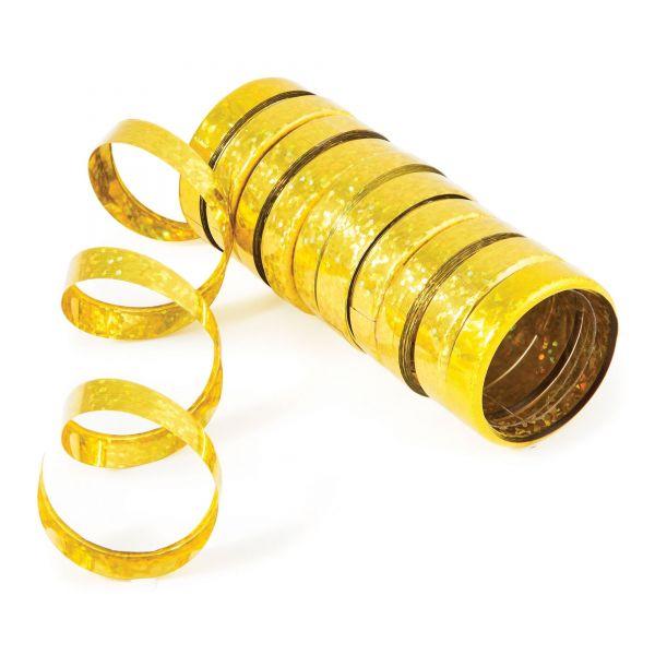 Holo-Folienluftschlangen Gold