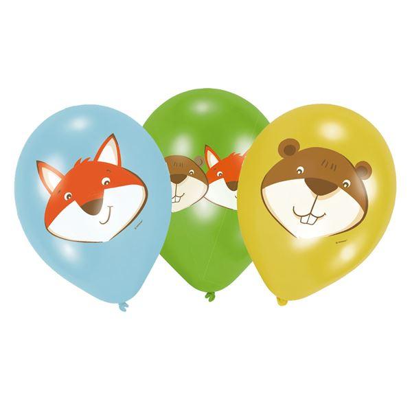 Latexballons Fuchs & Biber - 6 Stück Ø 30cm