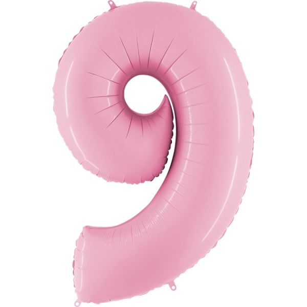 Folienballon Zahl 9 Pastell Rosa 100cm