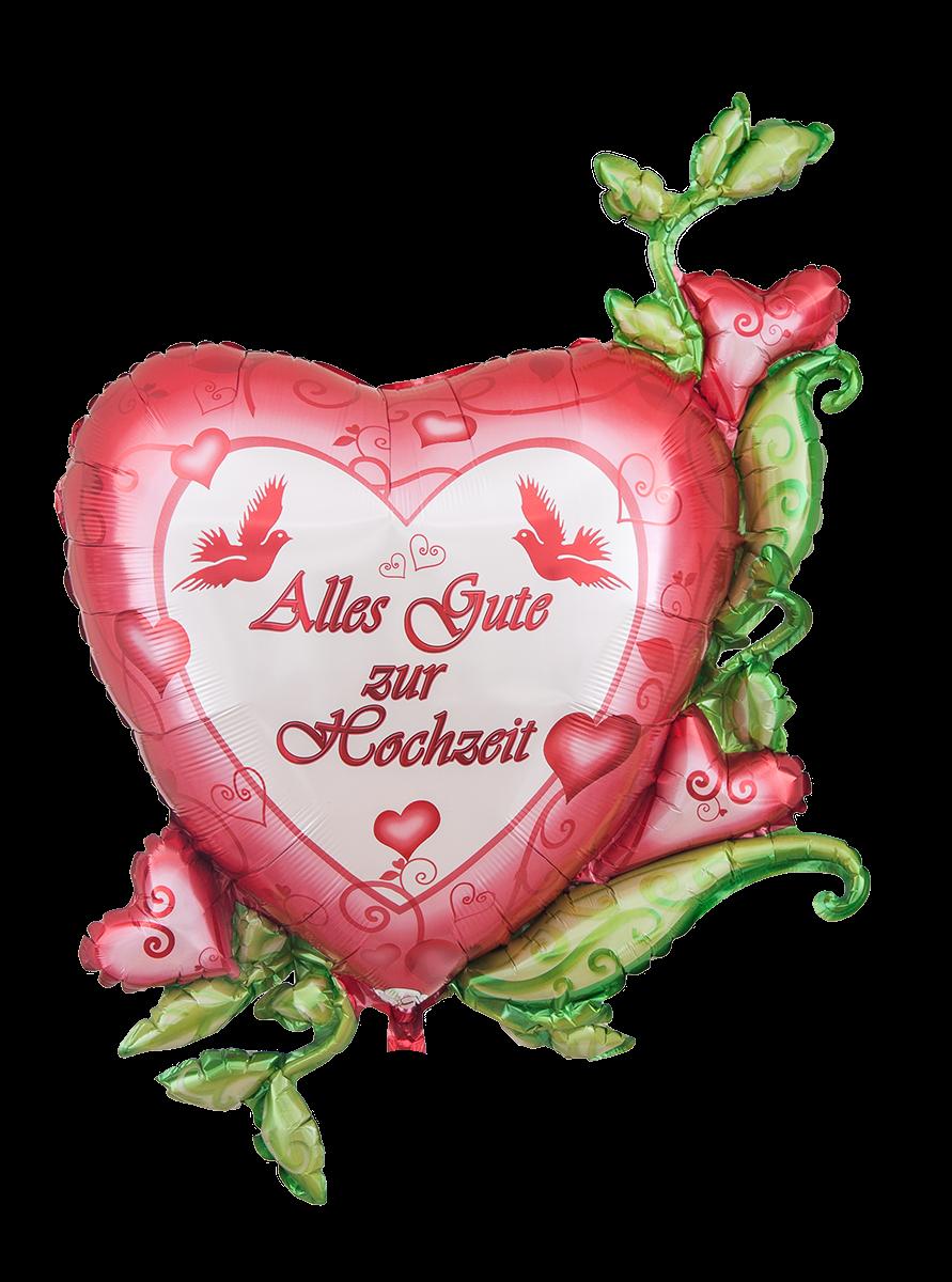 Folienballon Herz Mit Ranken Alles Gute Zur Hochzeit 79x104cm