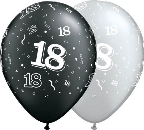 Qualatex Latexballon 18. Geburtstag Pearl Assorted Onyx Black & Silver Ø 30cm