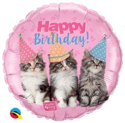 Folienballon Geburtstags-Kätzchen 45cm