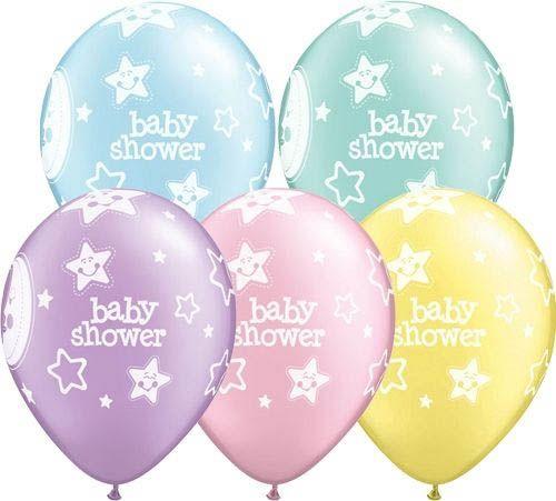 """Qualatex Latexballon Baby Shower """"Mond & Sterne"""" verschiedene Farben Ø 30cm"""