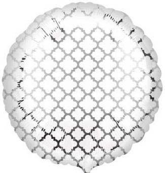 Folienballon Oriental Weiß & Silber 43cm