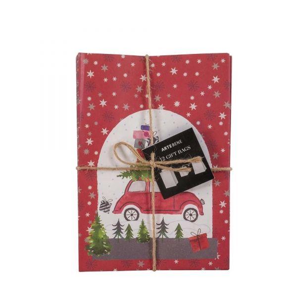 12'er Set Geschenktüten - Weihnachtsauto
