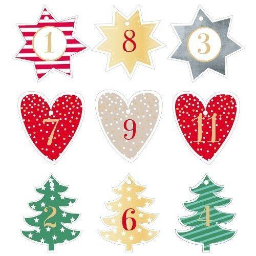 24 Adventskalender Anhänger Stern, Herz & Tannenbaum