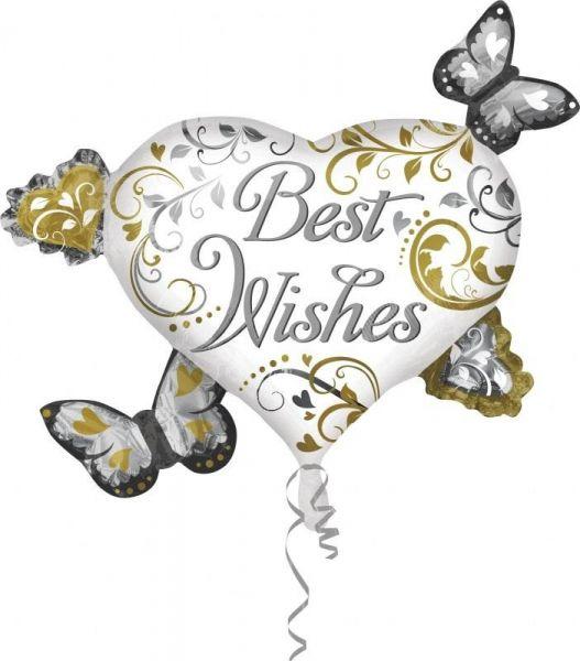 Folienballon Best Wishes Herz mit Schmetterlingen 66x76cm