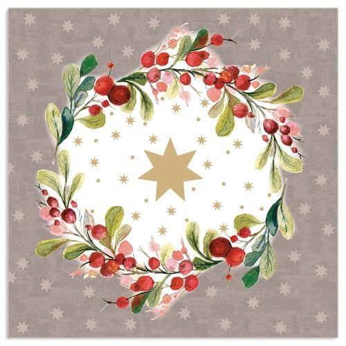 20 Weihnachtsservietten mit Lorbeer & Sternen Grau