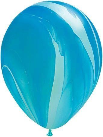 Qualatex Latexballon Super Agate Blue Rainbow Ø 30cm