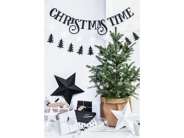 2 schwarze Weihnachtsbaum-Girlanden