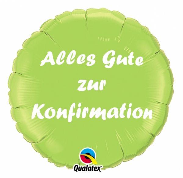 Folienballon Alles Gute zur Konfirmation Hellgrün 45cm