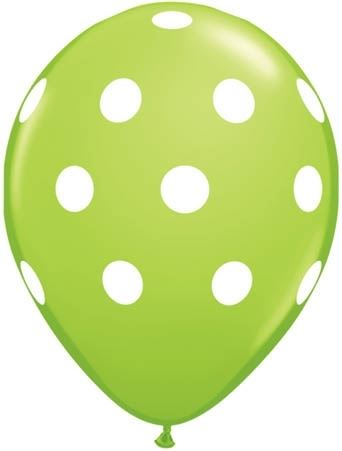 Qualatex Ballon Big Polka Dots Limettengrün 30cm