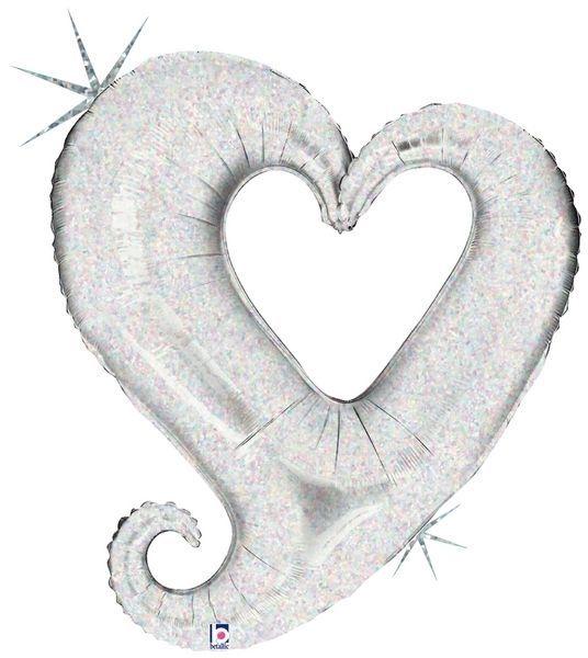 Folienballon offenes Herz holografisch Silber 94cm