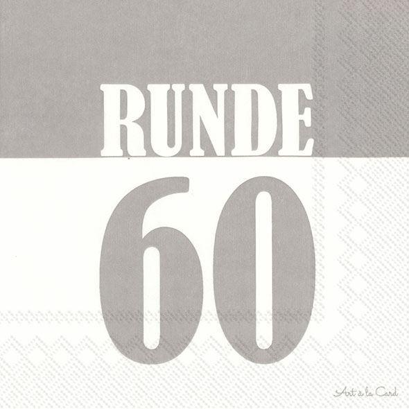 Runde 60 - 20 graue Geburtstags-Servietten