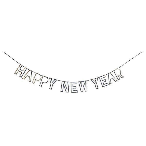 "Meri Meri - Girlande ""Happy New Year"", Silber/Glitzer"