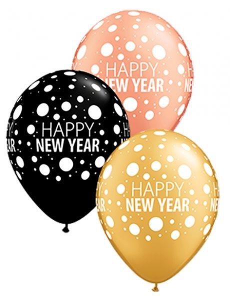 Qualatex Ballon Happy New Year Dots verschiedene Farben Ø 30cm