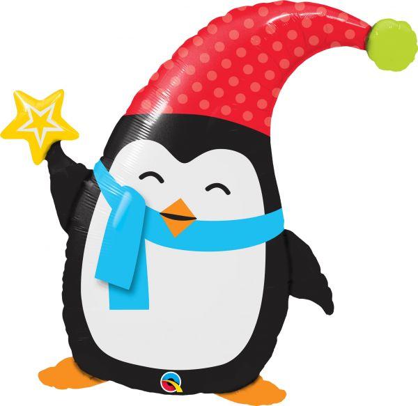 Folienballon Weihnachts-Pinguin 71x71cm